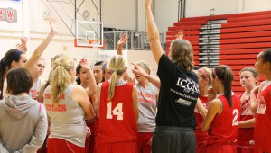 RDP: The girls' basketball team ends practice by talking tactics and their approach to each upcoming game. Team is lead by three seniors: Shelby Mann, Taylor Martin, Jessica Martin