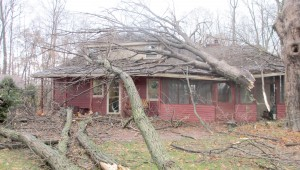 Maia Rabenold '14's house sits covered in debris following the November 17 tornadoes. Five tornadoes hit Tippecanoe County on November 17th snd knocked power out all across the county.
