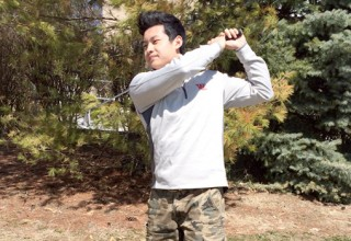 "STRAIGHT HUSTLIN': Joseph Kim hits and holds after one of many brilliant shots.  He gets his famous nickname ""Ghetto Joe"" from his wrestling coach, Rick Roseman"