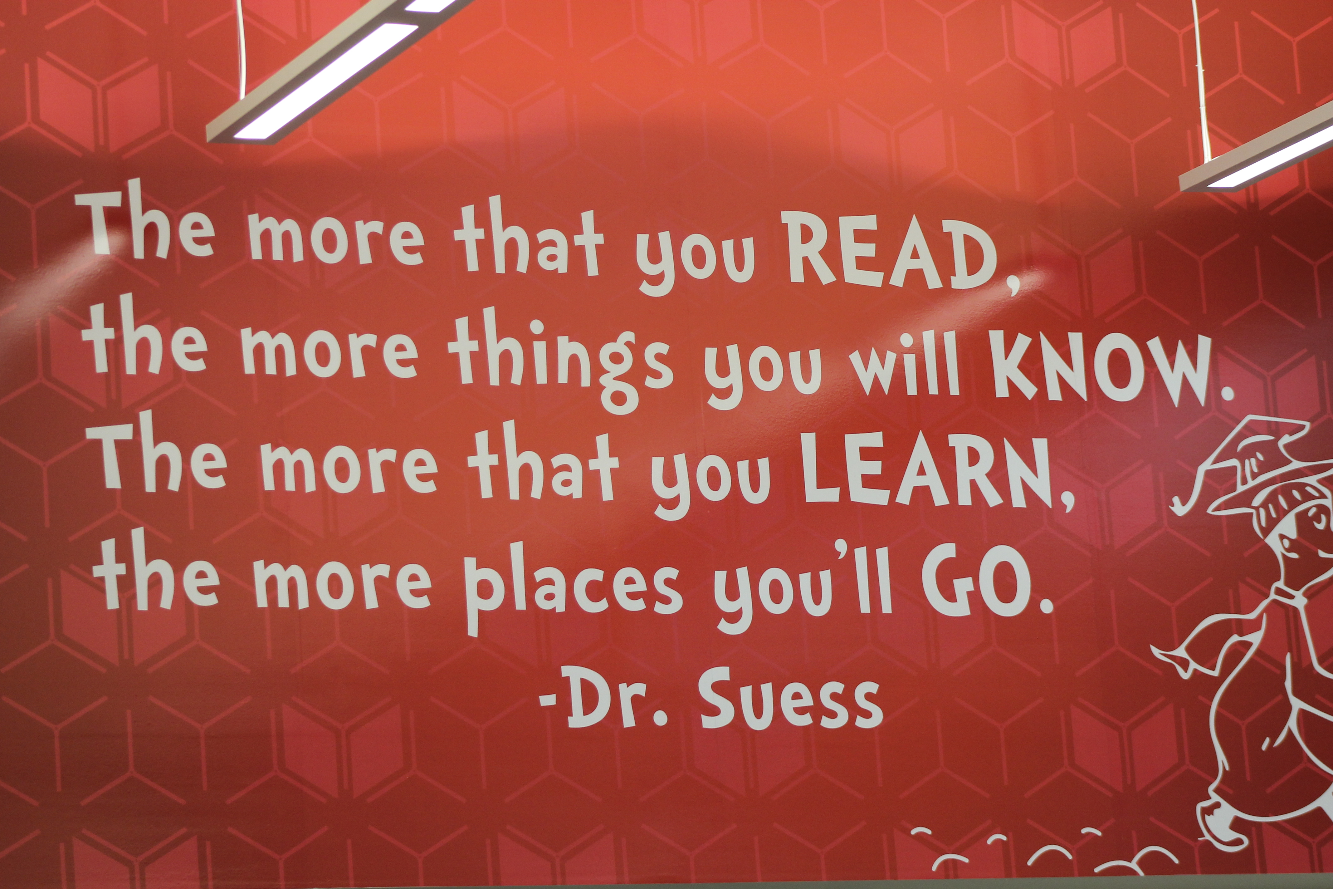 "ADVICE FROM DR.SUESS: Mary Whitman got the pleasure to make the library personalized as the quotes that she has cherished over the years, were displayed on the walls of the Media Center. ""I'm just incredibly honored. I just love West Lafayette students and I love they love to read. It was accidental that I got the chance to work with the West Lafayette Community School Corporation but coincidentally it was the best thing that ever happened,"" said Whitman."